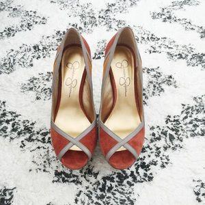 Jessica Simpson Multi Color Nubuck Peep Toe Heels